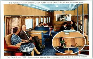 Chicago & North Western Railroad Postcard Twin Cities 400 Observation Lounge Car