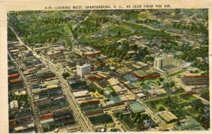 SC - Spartanburg, Aerial View Looking West