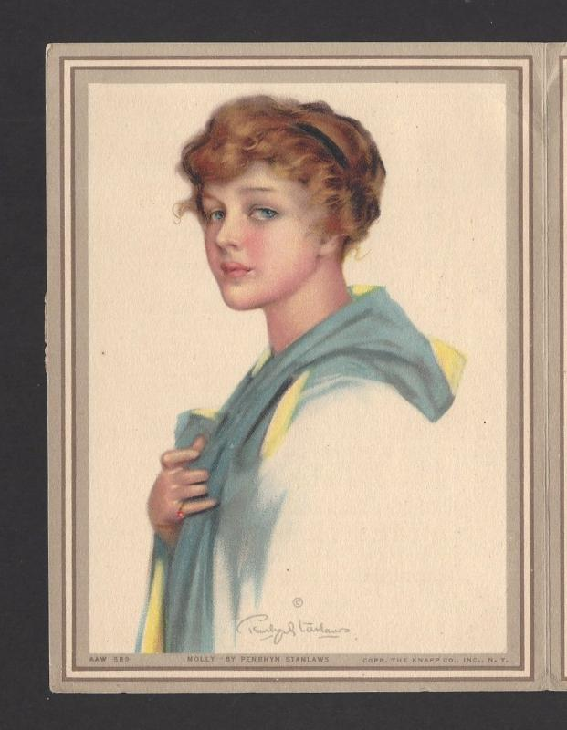 Pretty Lady Artist signed Art Mailing Folder postcard used 1916