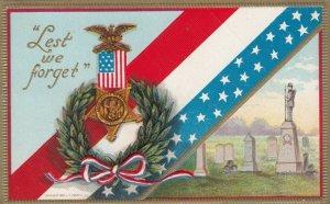 Lest We Forget Veteran's Medal, Olive Leaf Headdress, Cemetery, 1900-10s