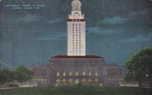 Texas Austin University Tower At Night 1950