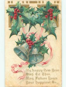 Pre-Linen new year SILVER BELLS WITH PINK RIBBON AND HOLLY k5188