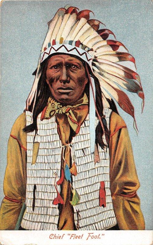 G21/ Native American Indian Postcard c1910 Chief Fleet Foot 12
