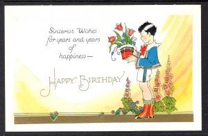 Happy Birthday,Boy Holding Flowers Pot
