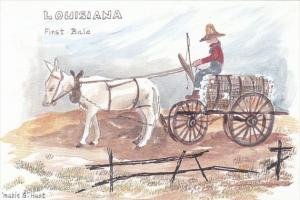 Louisiana Donkey Cart With First Bale Of Cotton By Mable G Hust