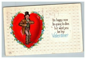 Vintage 1913 Valentines Postcard Hobo with Top Hat Giant Heart Blue Flowers