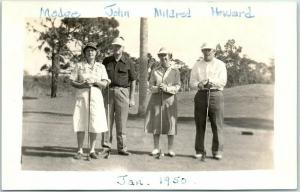 Vintage RPPC Real Photo Postcard GOLFING Mixed Foursome 2 Ladies 2 Men Jan. 1950