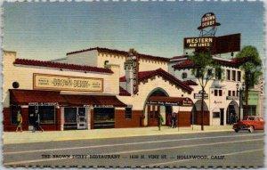1940s HOLLYWOOD, California Postcard BROWN DERBY RESTAURANT Vine Street / Linen