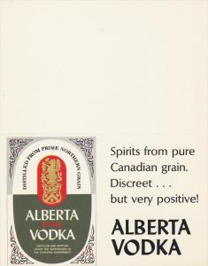ADV: Alberta Vodka, Distilled from Prime Northern Grain, 40-60's