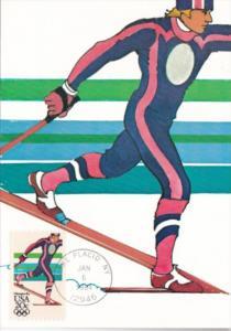 Nordic Skiing Stamp 1984 Los Angeles Olympics Artwork By Robert Peak