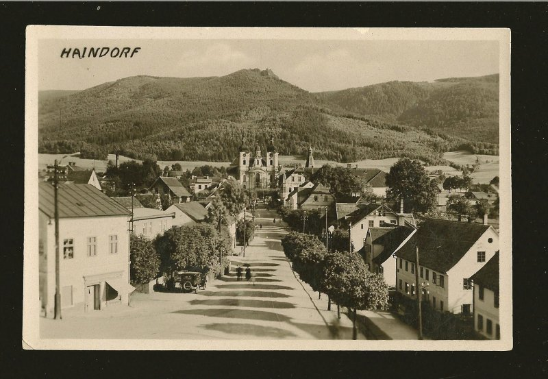 Czechoslovakia Haindorf Street Scene Postmarked 1930? Real Photo Postcard