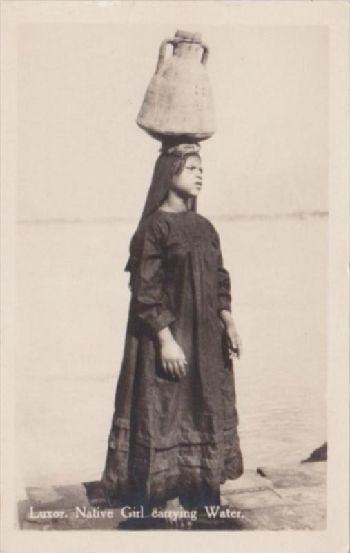 Egypt Luxor Native Girl Carrying Water Real Photo