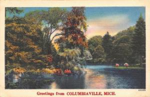 Columbiaville Michigan~Lake Scene~1939 Postmark~Linen Postcard