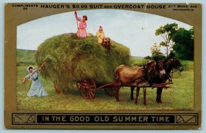 Indianapolis~Hauger's $9.99 Suit & Overcoat House~Summertime~Hay Wagon~1910 Adv