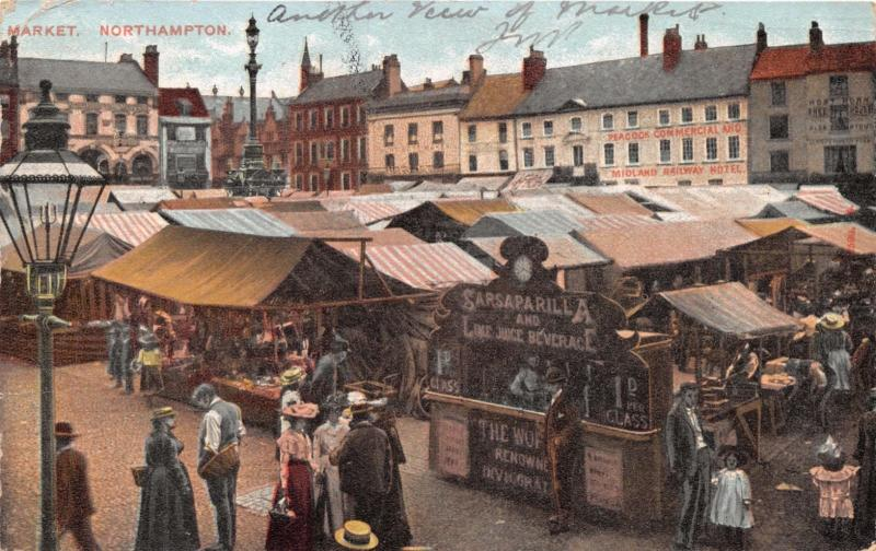 NORTHAMPTON UK MARKET SCENE~STALL SIGNS FOR SARSAPARILLA ETC. POSTCARD 1904