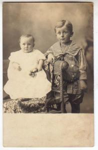 RPPC, Baby in a Fancy Chair and a Young Boy