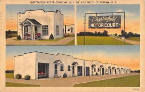 Cheraw South Carolina Chesterfield Motor Court Linen Antique Postcard K15200