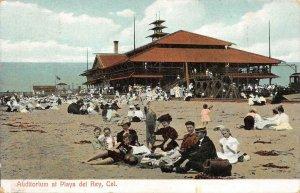 Auditorium at Playa del Rey, California Beach Scene 1909 Vintage Postcard
