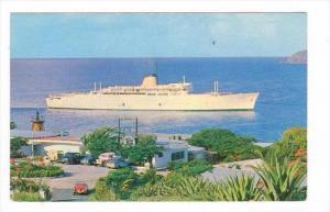 Ocean Liner m/s  VICTORIA  entering the harbour in St Thomas, Virgin Islands ...