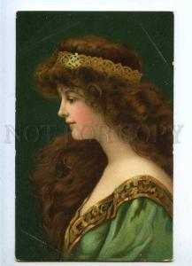 187060 ASTI Belle Woman LONG HAIR Green QUEEN Vintage PC