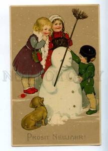 202910 New Year SNOWMAN Friend DACHSHUND Vintage M&B #1546 PC
