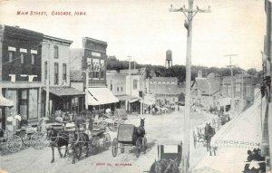 LP80 Cascade   Iowa Postcard Pearl St  view Main St Buggy Wagons