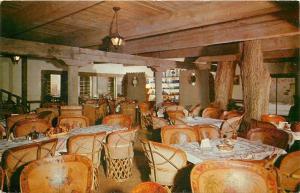 Old Albuquerque New Mexico~La Hacienda Dining Room Interior~Tree Trunks~1950s