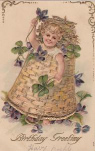 BIRTHDAY, 00-10s; Greeting, Toddler, clovers & violets, bottom of gold basket