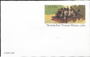 US Postcard Mint - 'Swamp Fox' Francis Marion. 1782.  Issued in 1982