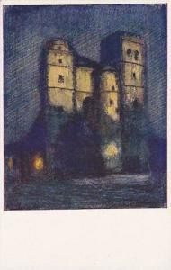 Olomouc.-Kostel Sv. Morice. Dle akvarelu profesora K. Wellnera, Czech Republi...