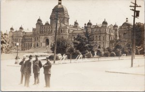 Victoria BC Soldiers Police Parliament Building Unused Real Photo Postcard G95