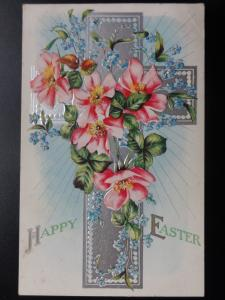 HAPPY EASTER 'embossed' Old Postcard
