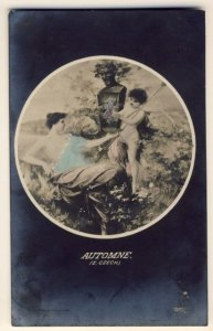 AUTOMNE - E.Czech - HALF TOPLESS WOMAN HOLDING TRAY FOR CHERUB? GRAPES IN - RPPC