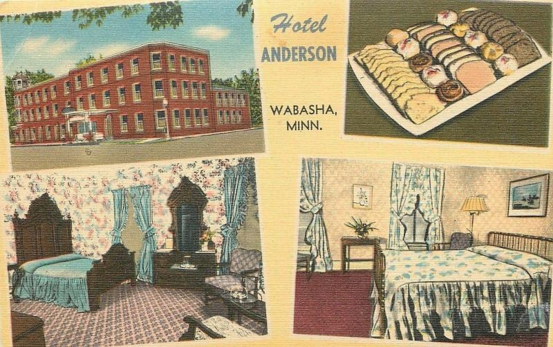 Wabasha Minnesota~Hotel Anderson~Inside Out~Pastry Plate~Rooms~1940s PC