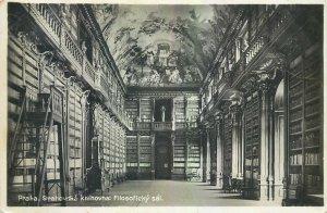 Postcard Czech Republic Prague library Strahovska knihovna