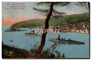 Old Postcard Villefranche La Rade and & # 39Escadre Military ships