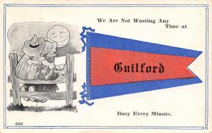 Wasting No Time at Guilford Michigan~Busy Every Minute~Full Moon~1912 Pennant