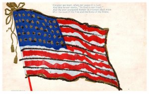 American Flag  , Poem , Embossed , Glitter