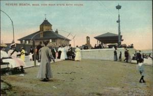Revere Beach MA View near Bath House c1910 Postcard
