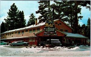 BIG BEAR LAKE, CA California SUNSET & SNOW LODGE c1950s  Cars Roadside Postcard