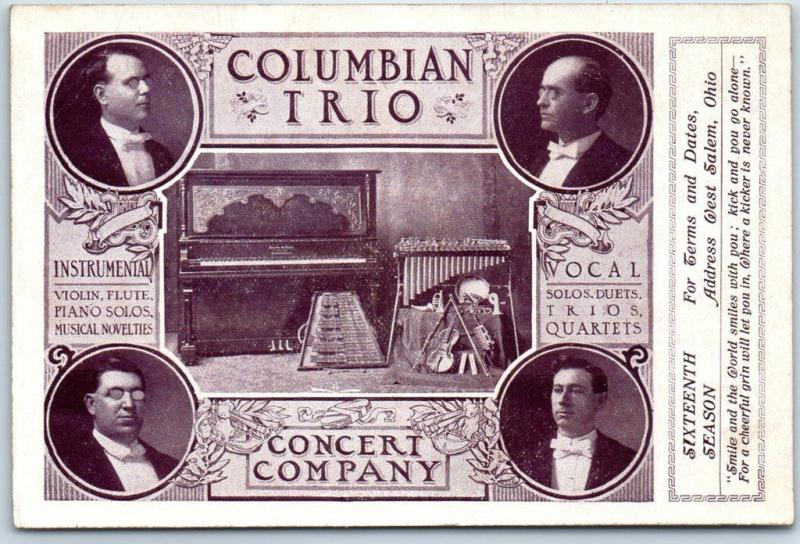 Salem, Ohio Postcard COLUMBIAN TRIO CONCERT COMPANY 16th Season c1910s UNUSED