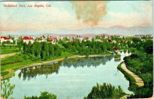 Postcard Hollenbeck Park Los Angeles California 1909 Red Letters  930