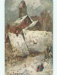 Unused Pre-Linen foreign signed PAINTING OF SNOWY HOUSES ON POSTCARD J4337@