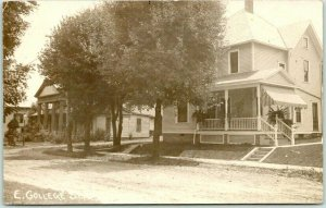 1910 FREDERICKTOWN, Ohio RPPC Real Photo Postcard EAST COLLEGE STREET Houses
