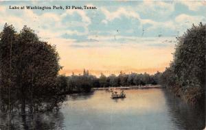 EL PASO TEXAS LAKE AT WASHINGTON PARK POSTCARD c1912