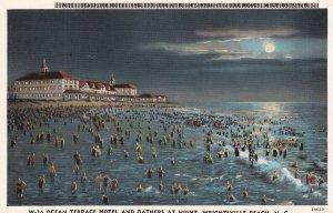 WRIGHTSVILLE, North Carolina, 1930-40s;  Ocean Terrace Hotel & Bathers at Night