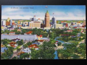 USA: Texas SKYLINE SAN ANTONIO - Old Postcard