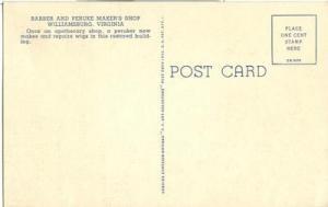 The Barber and Peruke Maker's Shop, Williamsburg, Virgini...