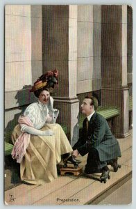TUCK The Rollers Series~Rink~Victorian Roller Skating Couple~Preparation~1908