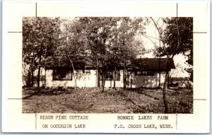Cross Lake MN RPPC Real Photo Postcard Birch Pine Cottage BONNIE LAKES FARM 1946